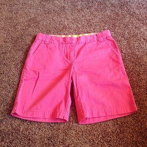 J crew pink broken in chino Bermuda style shorts